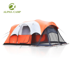Alpha Camp 6 Person Family Camping Tent with Screen Porch, 17'x 9', Yellow