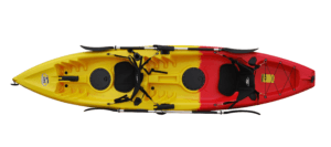 BKC TK181 12.5' Tandem Sit On Top Kayak W/ 2 Soft Padded Seats , Paddles ,7 Rod Holders Included 2 Person Kayak, Blue Camo