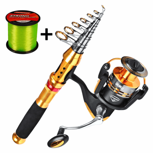 C0mdaba Fishing Rod and Reel Combos Full Kit Telescopic Fishing Pole with Spinning Reels Fishing Carrier Bag for Travel Saltwater Freshwater Fishing
