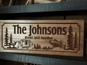 Camping signs, RV , Address Plaque, Camp fire, Wood Carved signs, personalized Wood Wall Art, Cabin Decor Happy Campers Benchmark Signs #53