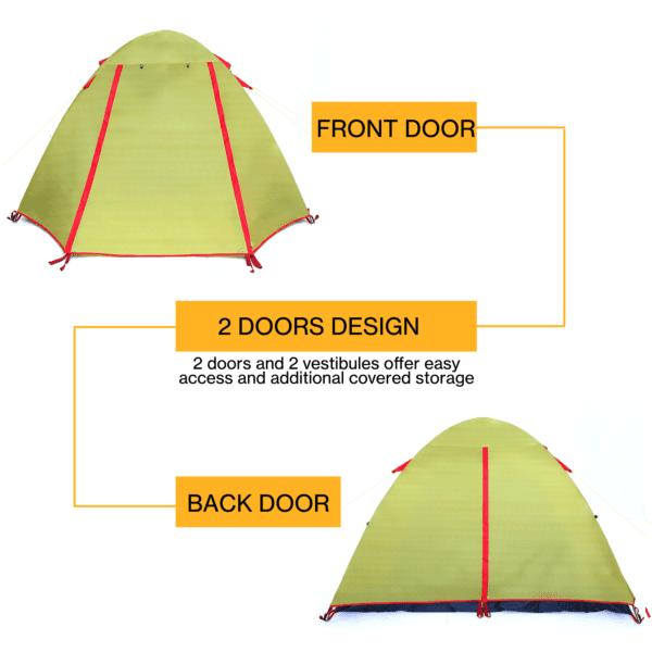 Camping Stylish Tent, 2P green 3 season