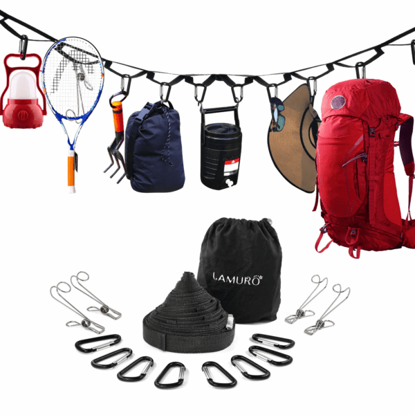 Campsite Storage Strap with 19 Separated Loops for Hanging Camping Equipment, Gear and Supplies | Includes Carabiner Hooks and Clothes Pins |