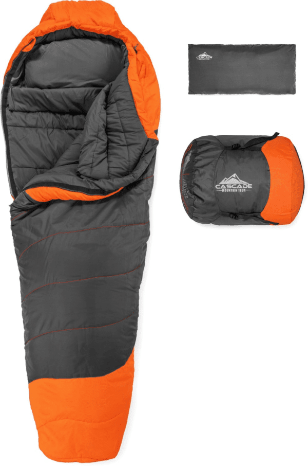 Cascade 0 Degrees F Mummy Sleeping Bag Orange - Family Tech Sleeping Bags at Academy Sports