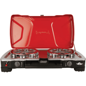 Coleman FyreCadet 2-Burner Camp Stove, Red/Black