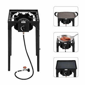 Fashine Square Heavy- Duty Outdoor Camp Stove Propane Gas Cooker, Portable Patio Stand Cooking Burner for Camping, Patio, or RV (Single-Burner