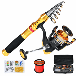 Fishing Reel and Rod Combo Full Kit Telescopic Fishing Pole Spinning Reels Combos with Fishing Storage Bag Set