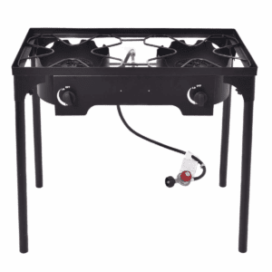 GYMAX Outdoor Stove, 2-Burner High Pressure Propane Gas Camp Stove with Detachable Height Adjustable Legs, Perfect for Camping Patio, 150,000-BTU