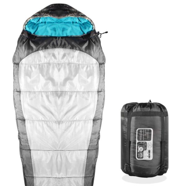 KHOMO GEAR Sleeping Bag Mummy Style - 3 Season - Camping & Outdoors - Grey