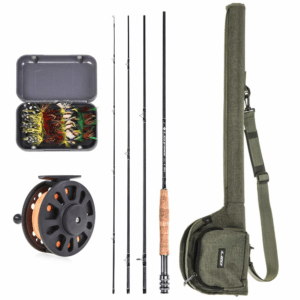Lixada Fly Fishing Rod and Reel Combo with Carry Bag & 20 Flies - Premium 9' 4-Piece Carbon Fiber Rod with Lightweight ABS Reel - Complete Starter