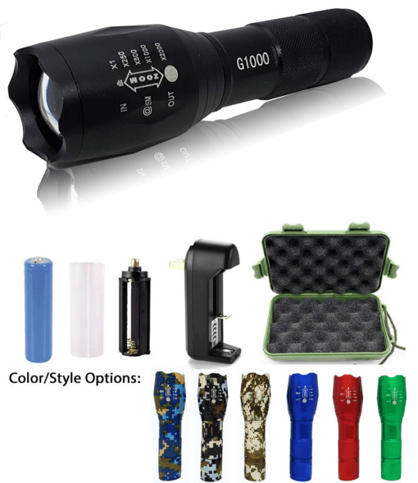 Military Grade 2000 Lumen LED Tactical Flashlight with 18650 Rechargeable Battery + Charger