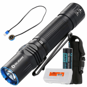 Olight M2R Warrior 1500 Lumen Magnetic USB Rechargeable LED Compact Tactical Flashlight (Cool White or Neutral White) with Lumen Tactical Battery