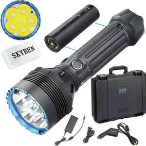 Olight X9R Marauder 25,000 Lumens Six Cree XHP70.2 LED Highest Output Flashlight Tactical Rechargeable Search Flashlight with 8 Rechargeable Battery
