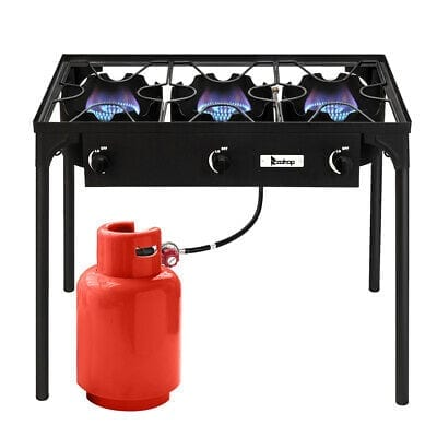 Outland Portable Camping Stove - 3 Zone Propane Gas Burner Controller with Auto Ignition - 2 Folding Cook Stations - Adjustable Leg - Traveling Camp