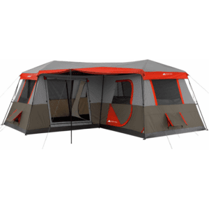 Ozark Trail 12 Person 3 Room L-shaped Instant Cabin Tent - 16' x 16' - Red