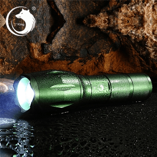 Portable 5000Lumens Ultra Bright - CREE XML T6 LED Tactical Flashlight 5 Modes+18650 Battery+Charger+Kit(Color: black、Red、green、brown、purple)