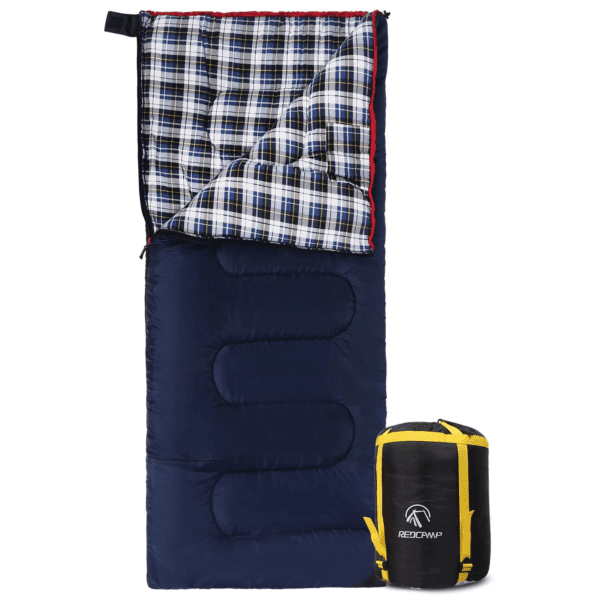 Redcamp 40 - 60 Degrees Cotton Flannel Sleeping Bag for Adults, Adult Unisex, Blue