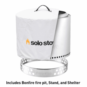 Solo Stove Bonfire Patio Bundle - Bonfire Fire Pit with Stand and Waterproof Shelter