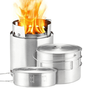 Solo Stove Campfire & 2 Pot Set Combo Compact Wood Burning Rocket Camping