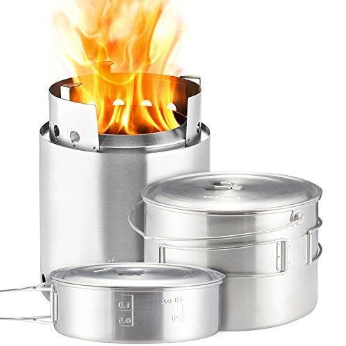 Solo Stove Campfire & 2 Pot Set Combo Compact Wood Burning Rocket Camping