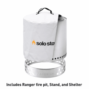 Solo Stove Ranger Patio Bundle - Bonfire Fire Pit with Stand and Waterproof Shelter