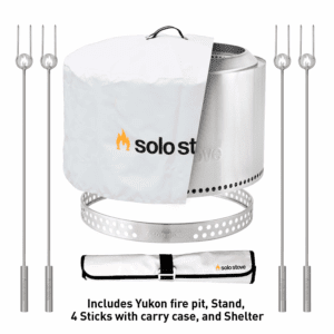 Solo Stove Yukon Backyard Bundle - Yukon Fire Pit with Stand, Roasting Sticks with Carry Case, and Waterproof Shelter