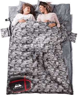 WELLAX Double Sleeping Bag for Camping, Backpacking or Hiking -Perfect Sleeping Sack for Couples- Extra Large 3 Season Waterproof Sleeping Bag for 2