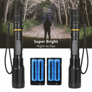 Wishdeal 2 Pack Super Bright T6 Led Flashlights High Lumens Rechargeable 5 Modes Waterproof Zoomable Tactical Flashlight Torch with Battery and